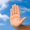 Hand protecting clean sky Stock Photos