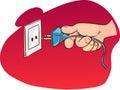 Hand pulling the plug