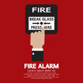 Hand push fire alarm button vector illustration Royalty Free Stock Image