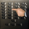 Hand Pushing Elevator Button Royalty Free Stock Images