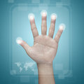 Hand pushing on a touch screen interface Stock Images