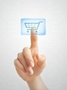 Hand pushing virtual shopping cart symbol of online Royalty Free Stock Photos