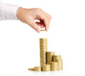 Hand put coin to money business idea Stock Images