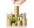 Hand put coin to money business idea Royalty Free Stock Photos