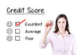 Hand putting check mark with red marker on excellent credit score evaluation form. Royalty Free Stock Photo