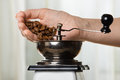 Hand putting coffee beans to grinder Royalty Free Stock Photo