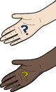 Hand with question mark light and dark skin Royalty Free Stock Images