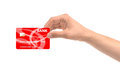 Hand and red card isolated on white background Royalty Free Stock Photography
