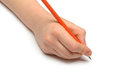 Hand with red pencil Royalty Free Stock Photo