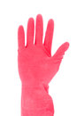 Hand with red rubber glove isolated on white background Stock Images