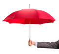 Hand with an red umbrella businessman isolated on white Royalty Free Stock Images