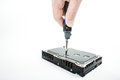 Hand repairman unscrews the 3.5 inch hard drive cover with a screwdriver. Royalty Free Stock Photo