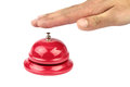Hand ringing in red service bell on white background Royalty Free Stock Image
