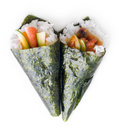 Hand rolled temaki sushi Royalty Free Stock Image