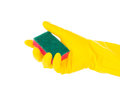 Hand in rubber glove holding red cleaning sponge against white background Stock Photo