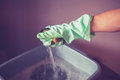 Hand in rubber glove holding sponge above bucket of water Stock Image