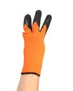 Hand in rubber glove shows three isolated on a white background Stock Photos