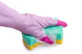 Hand in rubber gloves holds a sponge Stock Image