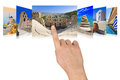 Hand scrolling Greece travel images Royalty Free Stock Photos