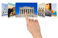 Hand scrolling greece travel images nature and tourism concept my photos Stock Photography