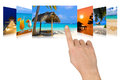 Hand scrolling summer beach images nature and tourism concept my photos Royalty Free Stock Photography