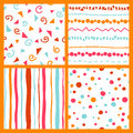 Hand seamless patterns bright collection Royalty Free Stock Photo