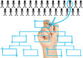 Hand selecting candidate organizational chart corp female with light blue felt tip or marker chooses the best or leader to place Royalty Free Stock Photo