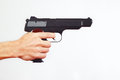 Hand with semi-automatic gun on white background Royalty Free Stock Photo
