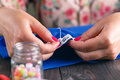 Hand sewing by woman Royalty Free Stock Photo