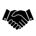 Hand shake business vector icon