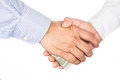 Hand shake deal with corrupt cash exchange Royalty Free Stock Photo