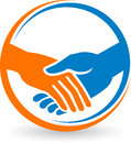 Hand shake logo illustration art of a with background Royalty Free Stock Image
