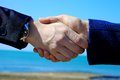 Hand shake between man and woman in front of the sea business hands shaking ocean Stock Photo