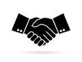 Hand shake silhouette vector icon