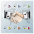 Hand shake three dimension polygon business infographic design template Stock Image