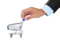 Hand and shopping cart Royalty Free Stock Photo