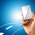 Hand showing staircase card template Royalty Free Stock Photo