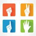 Hand showing victory power and help different shape of vector illustration Royalty Free Stock Image