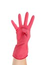 Hand shows four in red rubber glove isolated on white background Stock Images