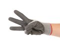 Hand shows three in rubber glove. Stock Images