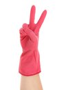 Hand shows two in red rubber glove isolated on white background Royalty Free Stock Photos