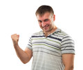 Hand sign of erection man gesturing strong symbolizing his power Stock Photos