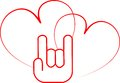 Hand sign love and two hearts Royalty Free Stock Photo