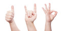 Hand sign set thumbs up horns and okay signs Royalty Free Stock Image
