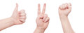 Hand sign set thumbs up peace and fist signs Stock Images