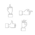 Hand sign set, vector illustration flat. Gestures of the hands are four in the set