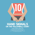 Hand signals of the volleyball player s backside vector illustration Stock Photos