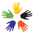 Hand signs with the colors of the five continents Royalty Free Stock Images