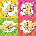 Hand signs in retro pop art style. Cartoon comic vector set. Pointing finger, ok sign, thumb up. Royalty Free Stock Photo