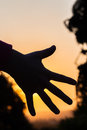 Hand silhouetted colors detail sunsets Stock Photos